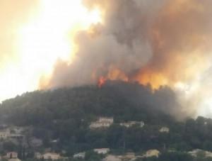 南仏で大規模な山火事 400ヘクタールが焼ける