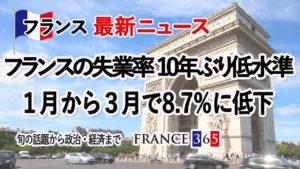 フランス失業率10年ぶり低水準、1~3月で8.7%に低下-5月第3週 フランス最新ニュース-